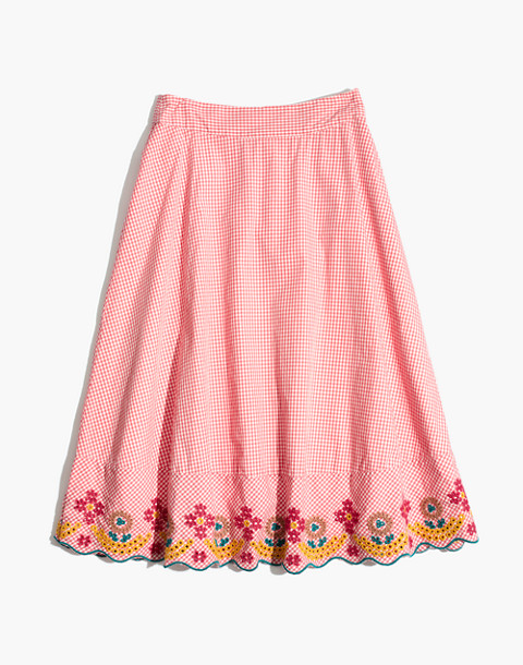 Embroidered Gingham Circle Skirt in sunset gingham image 4