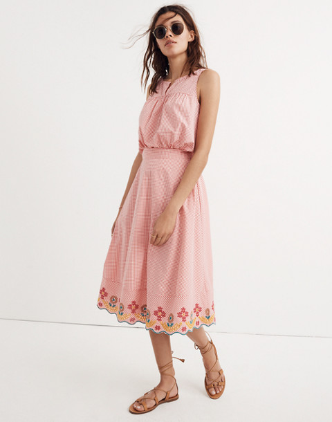 Embroidered Gingham Circle Skirt in sunset gingham image 1