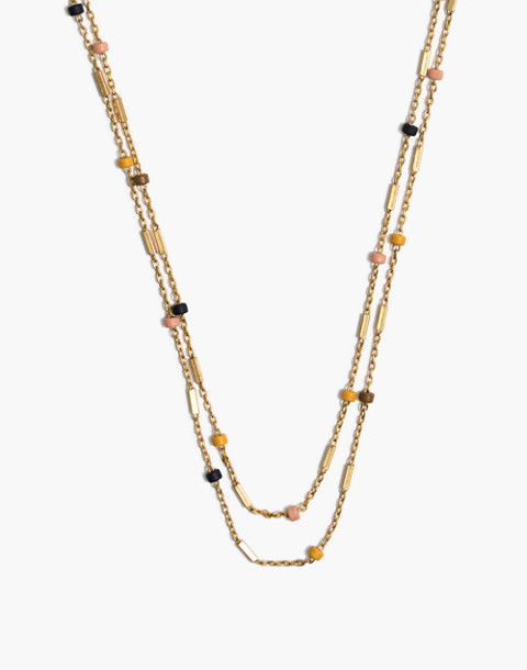 Layered Beaded Chain Necklace in blue night multi image 1