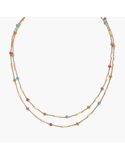 Layered Beaded Chain Necklace