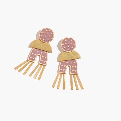 Mixed-Metal Enamel Earrings