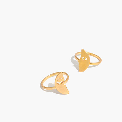 Paired Faces Ring Set