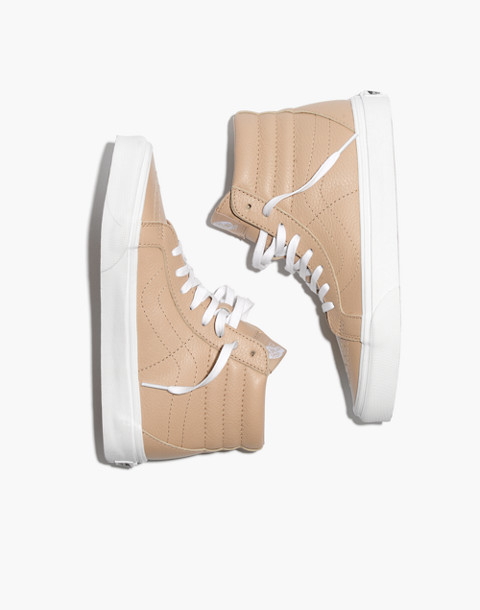 Vans® Unisex SK8-Hi Reissue High-Top Sneakers in Sesame Leather in sesame image 1