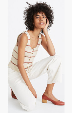 Ribbed Button-Front Tank Top in Stripe