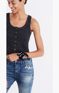 Ribbed Button-Front Tank Top