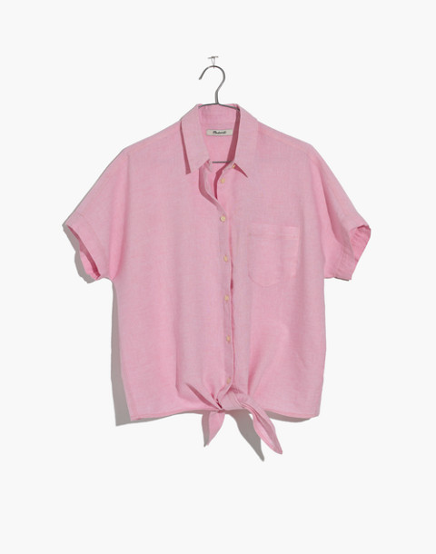 Short-Sleeve Tie-Front Top in Paris Pink