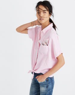 Short-Sleeve Tie-Front Top in Paris Pink