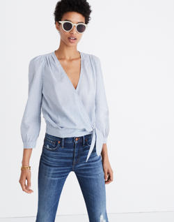 Wrap Top in Indigo Stripe