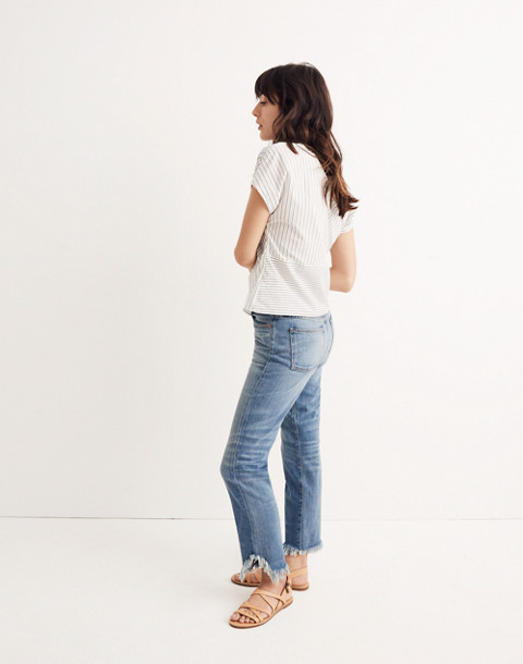 Striped Twist-Front Top in liam white wash image 2