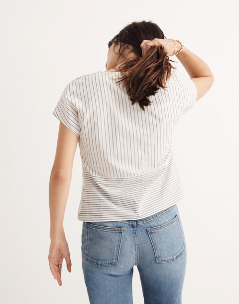 Striped Twist-Front Top in liam white wash image 3