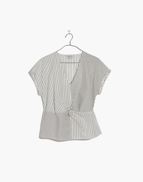 Striped Twist-Front Top in liam white wash image 4