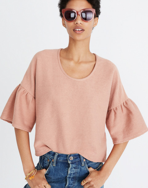 Texture & Thread Gathered-Sleeve Top in antique coral image 1