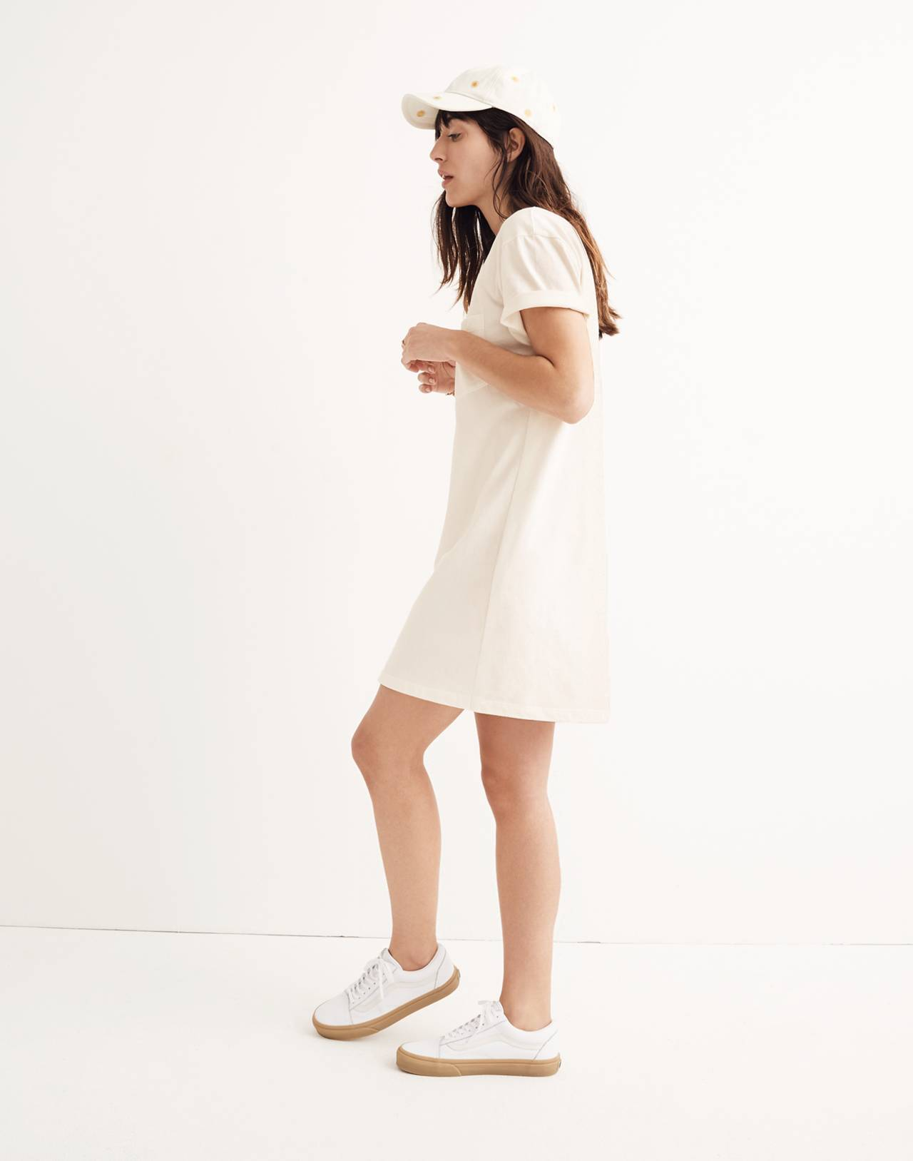 Pocket Tee Dress in bright ivory image 2
