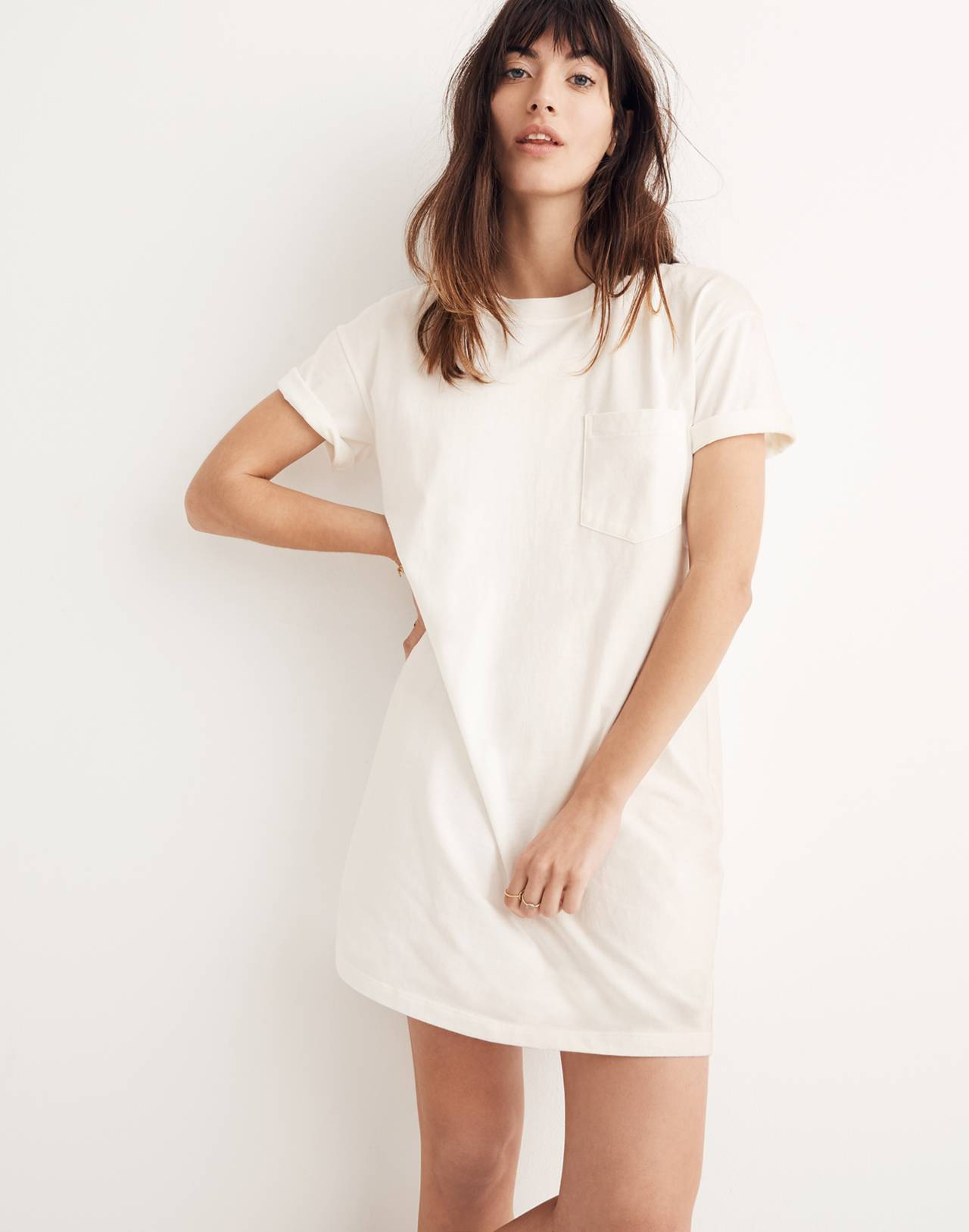 Pocket Tee Dress in bright ivory image 1