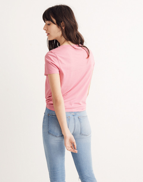 Knot-Front Tee in petal pink image 2