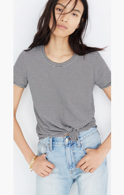 Knot-Front Tee in Stripe