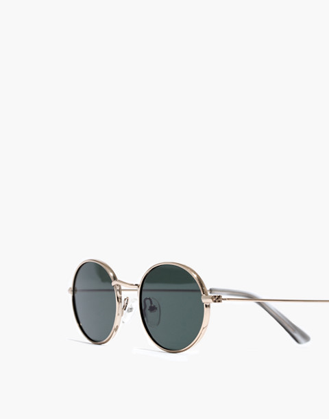 Wire-Rimmed Sunglasses in green/gold image 2