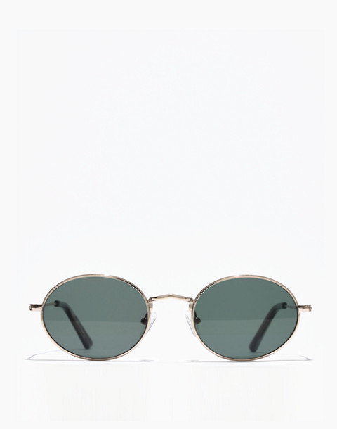 Wire-Rimmed Sunglasses in green/gold image 1