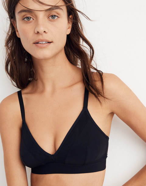Mesh-Trimmed Fuller Bralette in true black image 1