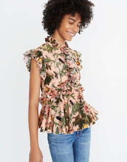 Karen Walker® Fantasy Ruffled Print Top