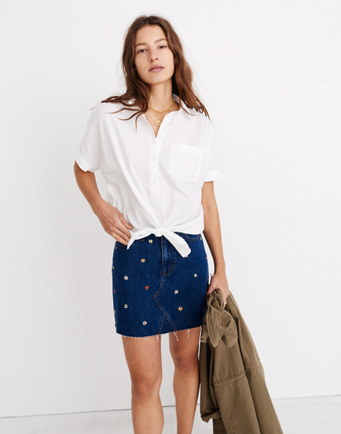 Short-Sleeve Tie-Front Shirt in eyelet white image 2