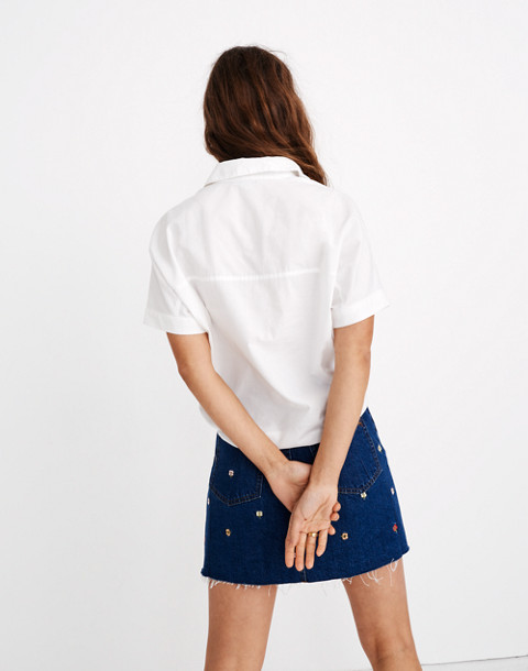 Short-Sleeve Tie-Front Shirt in eyelet white image 3