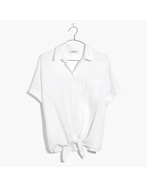 Short-Sleeve Tie-Front Shirt in eyelet white image 4