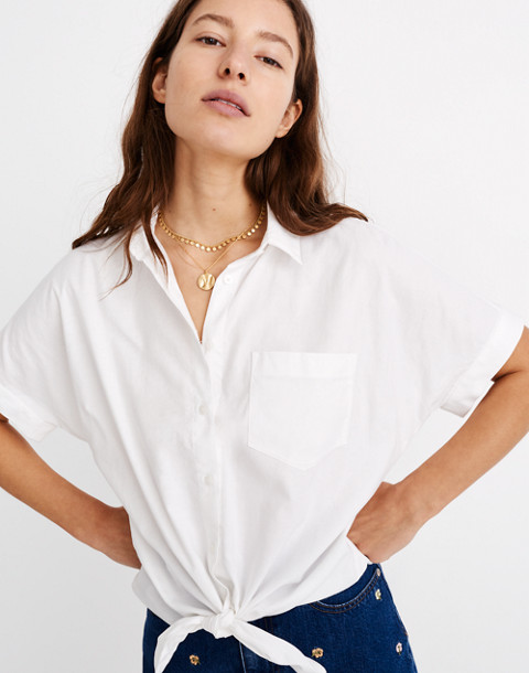 Short-Sleeve Tie-Front Shirt in eyelet white image 1