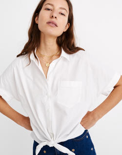 Short-Sleeve Tie-Front Shirt