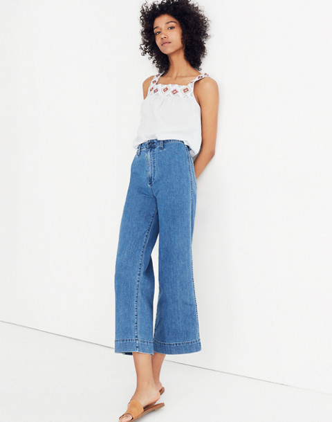 Tall Emmett Wide-Leg Crop Jeans in Rosalie Wash in rosalie wash image 2