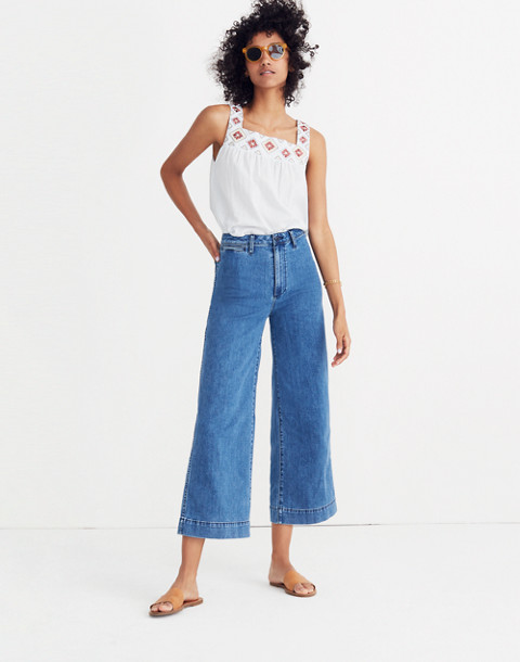 Tall Emmett Wide-Leg Crop Jeans in Rosalie Wash in rosalie wash image 1