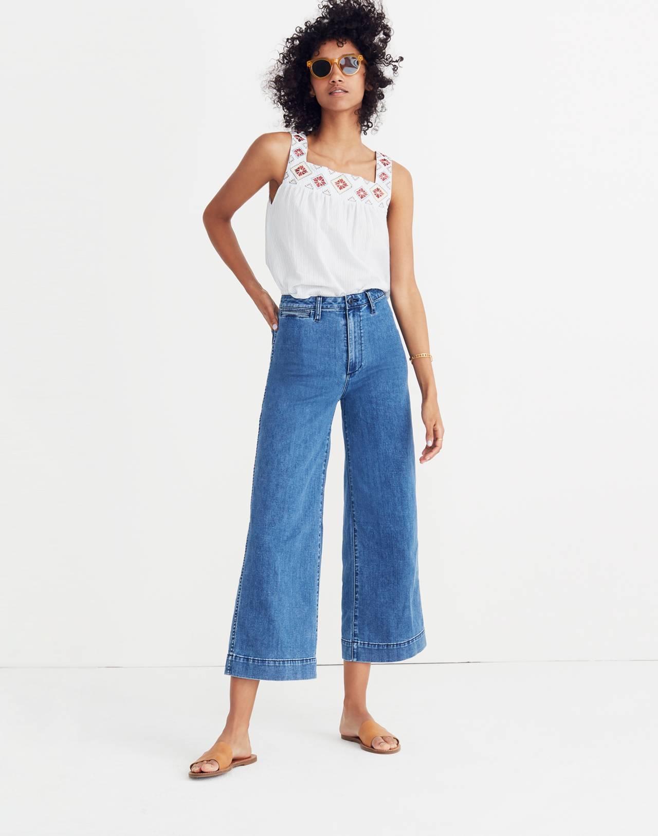 Tall Emmett Wide-Leg Crop Jeans in Rosalie Wash in rosalie wash image 1