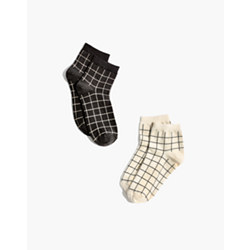 Two-Pack Grid Ankle Socks
