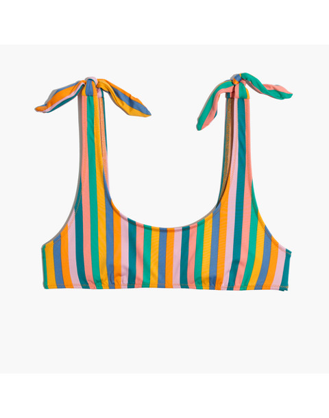 J.Crew Playa Nantucket Tie-Shoulder Bikini Top in Stripe in stripe multi image 4