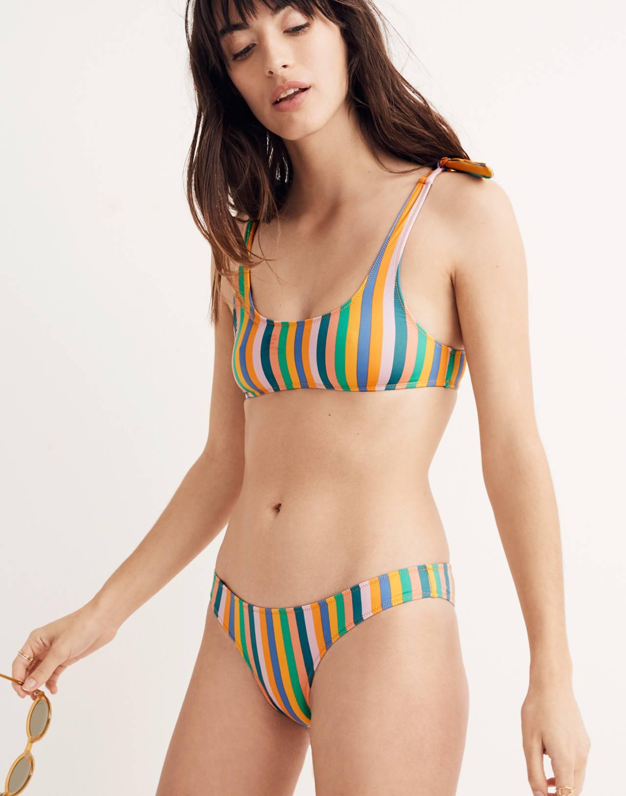 J.Crew Playa Nantucket Cheeky Bikini Bottom in Stripe in stripe multi image 1