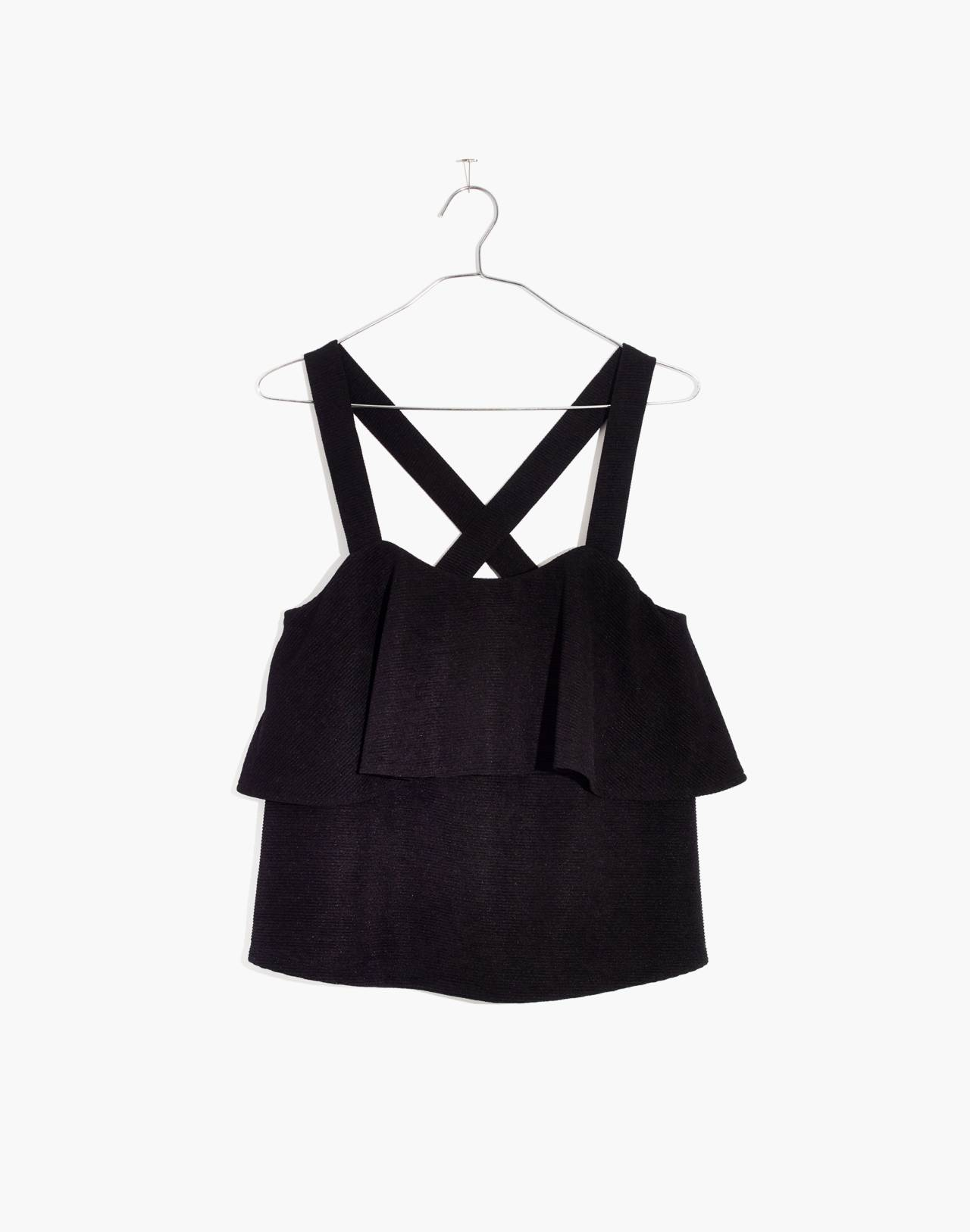 Texture & Thread Tiered Tank Top in true black image 1