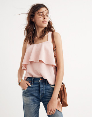 Texture & Thread Tiered Tank Top in sheer pink image 1