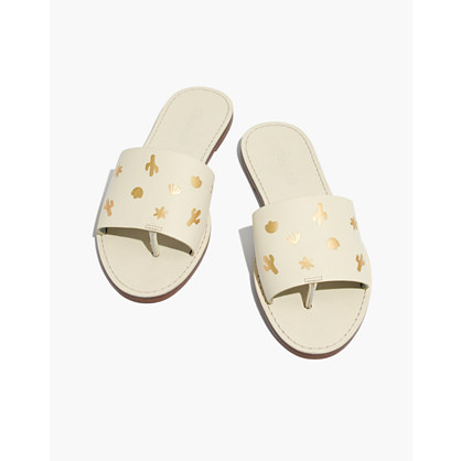 The Boardwalk Post Slide Sandal: Cactus Embossed Edition by Madewell