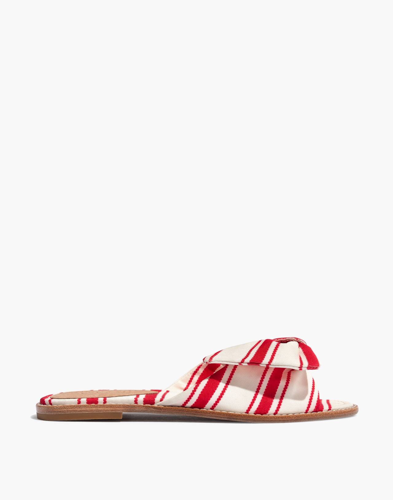 The Naida Half-Bow Sandal in Marcia Stripe in muslin image 3
