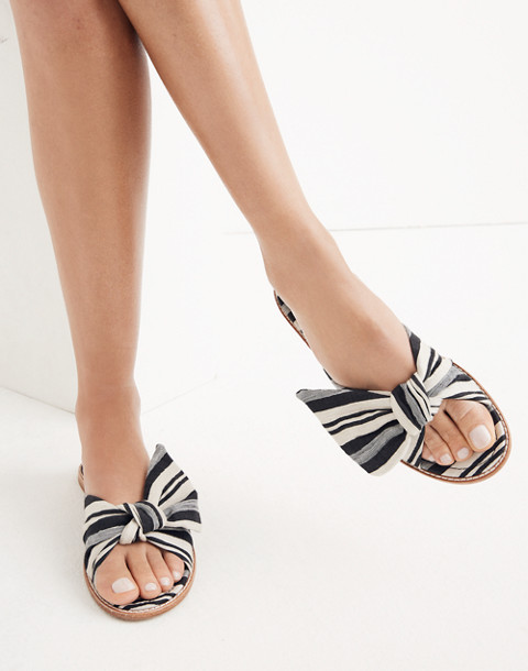 The Naida Half-Bow Sandal in Marcia Stripe in muslin image 2