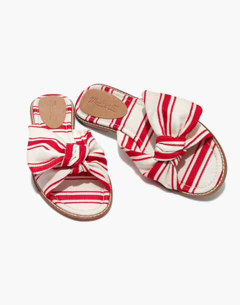 The Naida Half-Bow Sandal in Marcia Stripe in muslin image 1