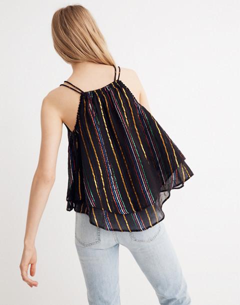Apiece Apart™ Luna Shirred Cami Top in black fez stripe image 2