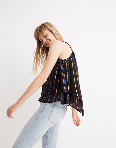 Apiece Apart™ Luna Shirred Cami Top in black fez stripe image 3