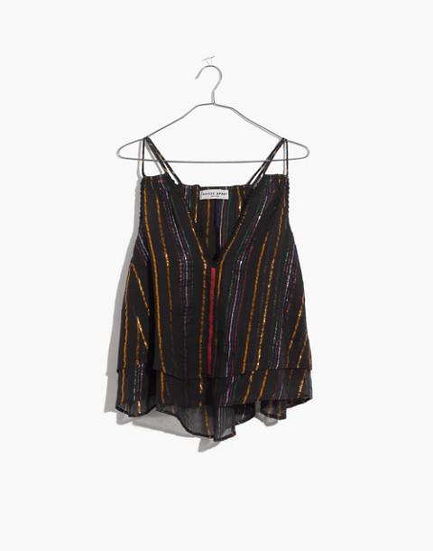 Apiece Apart™ Luna Shirred Cami Top in black fez stripe image 4