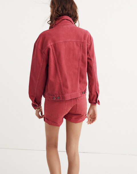 The Boxy-Crop Jean Jacket: Garment-Dyed Edition in dark rosette image 2