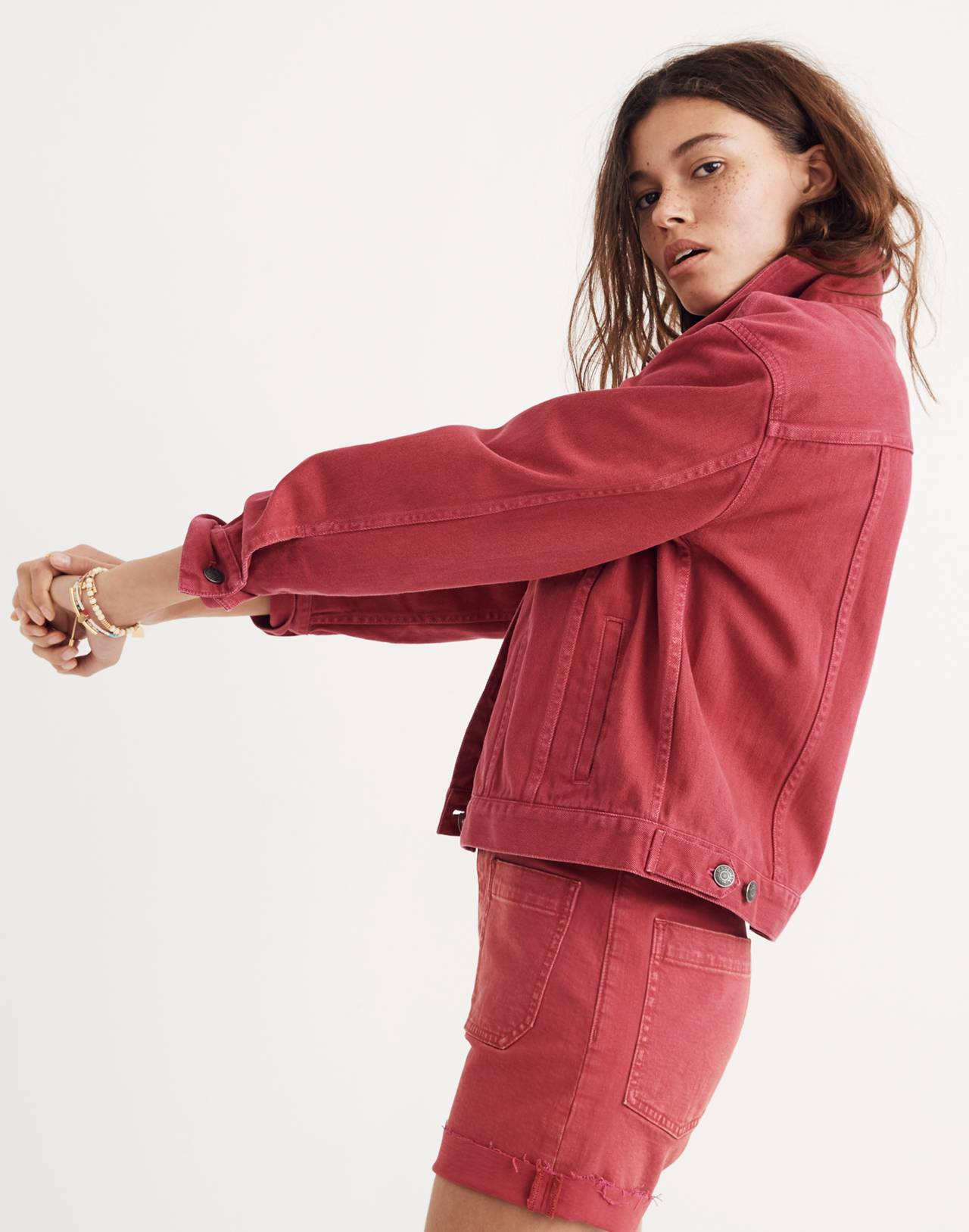 The Boxy-Crop Jean Jacket: Garment-Dyed Edition in dark rosette image 3