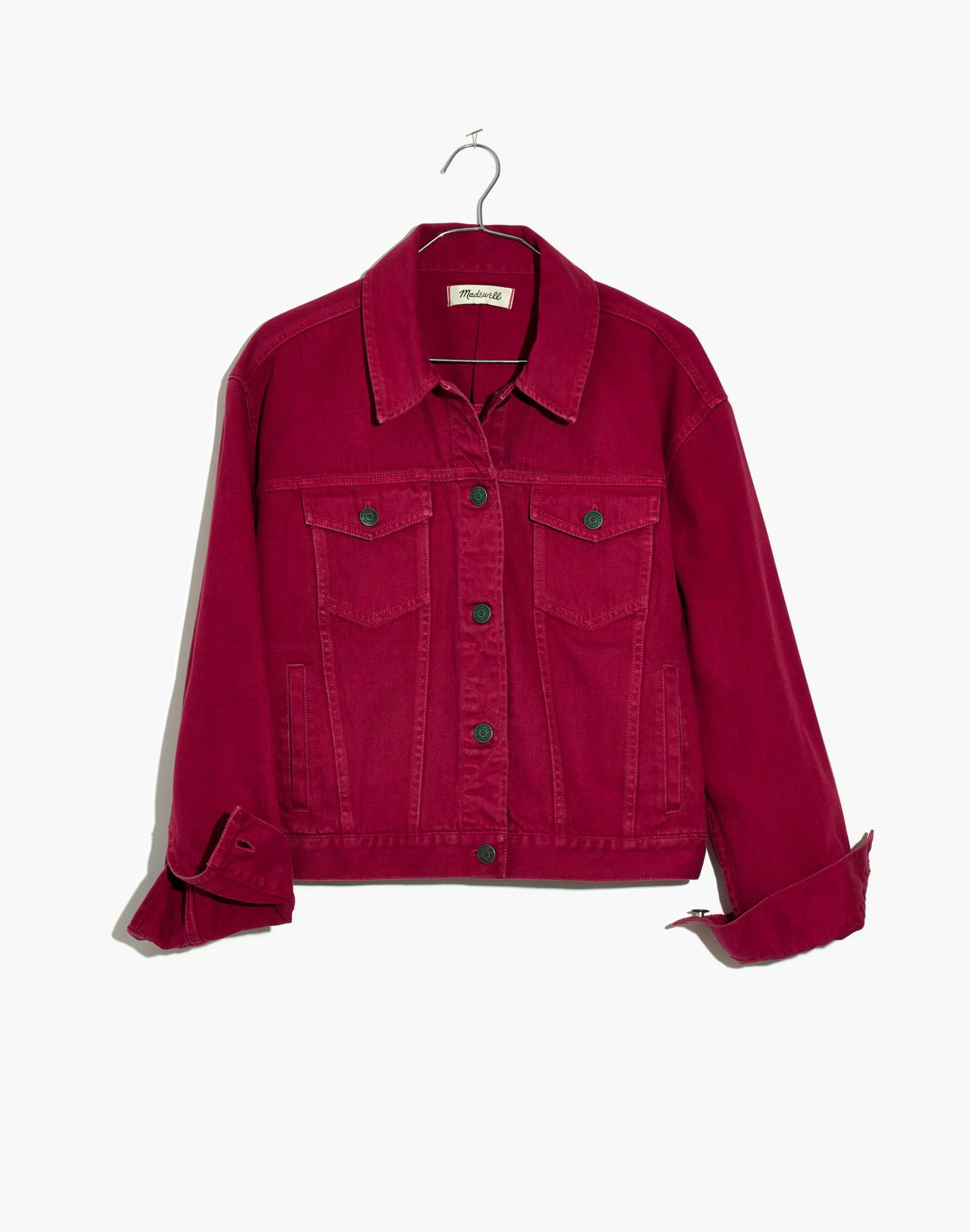 The Boxy-Crop Jean Jacket: Garment-Dyed Edition in dark rosette image 4