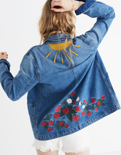 Strawberry Embroidered Workwear Jacket
