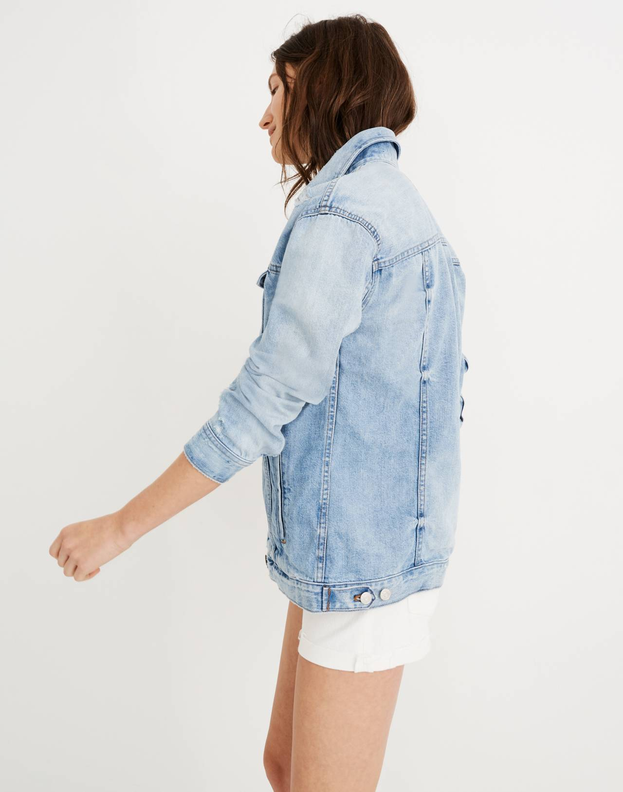 The Oversized Jean Jacket in Junction Wash: Distressed Edition in junction wash image 3