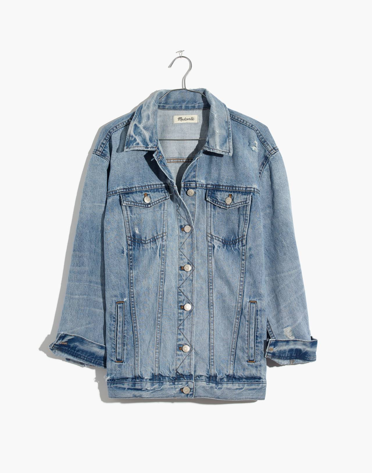 The Oversized Jean Jacket in Junction Wash: Distressed Edition in junction wash image 4